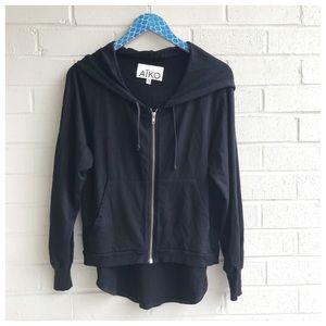 Aiko Black Hi Low Flounce Hem Zip Up Hoodie Jacket